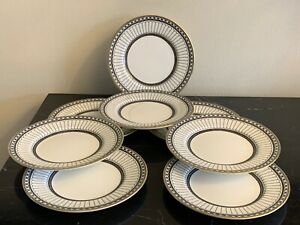 """Wedgwood Colonnade Black 6"""" Bread and Butter Plates Set of 8"""