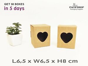 Mini Cardboard Boxes Heart Shaped Window Candles Soap Candy Brown Gift Kraft Box