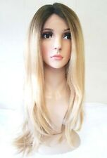 Blonde Human Hair Wig Front Lace Long Bleach Blonde Ombre Dark Roots