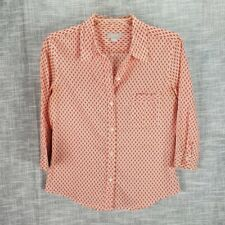 J. Crew Orange Print Button Up Shirt Medium Cotton 3/4 Length Sleeve