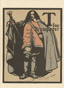 William Nicholson Woodcut Print 1898 T for Trumpeter Alphabet Lithograph 1975