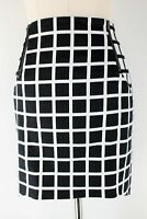 Portmans black & white check skirt with zip detail - as new - 12