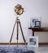 Large Brass Timber Nautical Tripod Floor lamp, Wooden Floor Lamp, AUS Seller