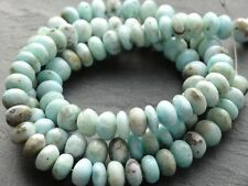 """HAND SHAPED NATURAL LARIMAR RONDELLES, approx 7mm - 7.3mm, 9"""" strand"""