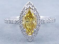 Certified 3.00Ct Fancy Yellow Marquise Cut Diamond Engagement 14K WhiteGold Ring