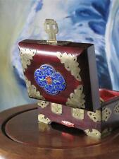 Vintage Chinese Rosewood Jewellery Box…  with Brass Trim & Cloisonné on lid....
