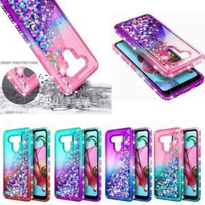 For LG Stylo 6 Shockproof Glitter Liquid Bling Rubber Diamond Phone Case Cover
