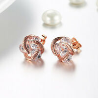 1 Pair Rose Gold Love Knot Stud Earrings with Crystals Made in ITALY DYI