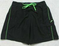 Speedo Swimming Board Shorts XL 36 Trunks Man's Polyester Black Cargo Pocket