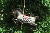 KURT ADLER RESIN TRADITIONAL GRAY CAROUSEL DOBBY HORSE CHRISTMAS ORNAMENT C6737