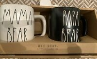 "Rae Dunn ""Papa Bear"" & ""Mama Bear"" Farmhouse Gift Set Coffee Mugs ~White & Black"
