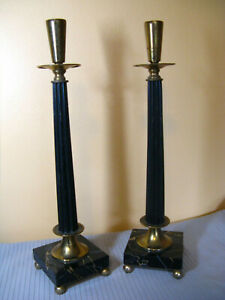 Vintage Antique Art Deco Italian Marble & Brass Candlesticks