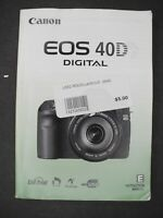 #2 Canon Genuine EOS 40D Digital Camera Instruction Book / Manual / User Guide