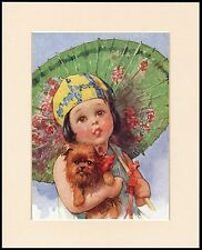 BRUSSELS GRIFFON LITTLE GIRL WITH PARASOL CUTE DOG PRINT MOUNTED READY TO FRAME