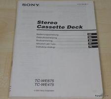 Sony TC-WE475 / TC-WE675 Bedienungsanleitung (mehrsprachig, auch in Deutsch)