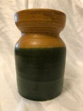 Vintage Earthenware Pottery Vase Markers Mark Glazed in Greens and Golden Brown