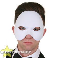 WHITE TOP HALF FACE PHANTOM MASK VENETIAN MASQUERADE PARTY DRAMA SCHOOL THEATRE
