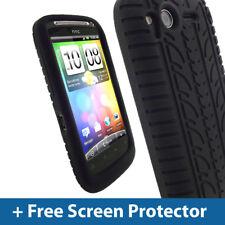 Schwarz Reifen Skin Hülle für HTC Desire S Android Smartphone Silikon Cover Halter