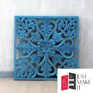 MADE TO ORDER Dynasty Hand Carved Indian Solid Wood Wall Decorative Carved Panel