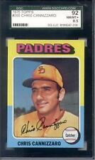 1975 Topps Chris Cannizzaro #355 San Diego Padres SGC 92 NM-MT+ 8.5