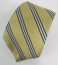 """Brooks Brothers Makers Mens Necktie Tie Gold Navy Blue Striped 53"""""""