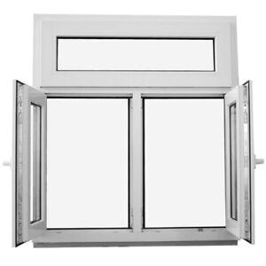 Kunststofffenster Fenster mit Pfosten Oberlicht 2-flügelig 2-Fach Verglasung NEU