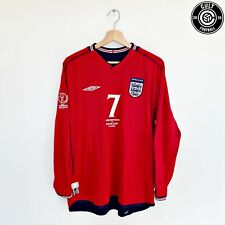 2002/04 BECKHAM #7 England Umbro Away Football Shirt (M) World Cup 02 Argentina