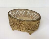Gold FILIGREE Vanity Box or Trinket Box - Oval w/ Beveled Glass Top