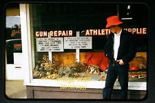 1950's Buck's Sporting Goods Store and Man hunting gun, Original Slide a5a