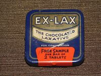 VINTAGE MEDICINE  EX LAX THE CHOCOLATED LAXATIVE  FREE SAMPLE   TIN BOX