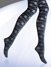 WOMENS BLACK PATTERNED SEMI OPAQUE TIGHTS  80 DENIER PLUS SIZE XL-XXL R 27