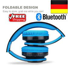 EXCELVAN Faltbar Funk Bluetooth Kopfhörer LED Stereo Einstellbar Headset FM Blau