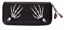 Banned Elegant Gothic Punk Skeleton Hand Faux Leather Wallet Purse Black White