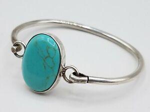 "925 Silver Blue/Green Glass Bracelet Mexico 6"" 21g AET515"