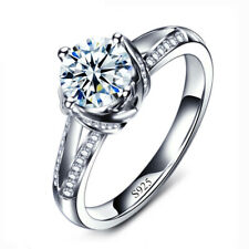 Women AAA Cubic Zirconia Wedding Ring 18K White Gold Engagement Rings Jewelry
