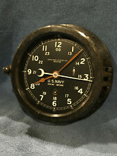 * Fully Restored* 1942 Wwii Us Navy 12/24hr. Chelsea Ships Clock