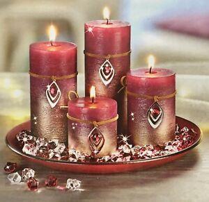 Adventskranz NEU mit 4 Kerzen für Weihnachten mit Anhänger und Dekosteinchen