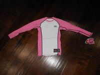 NWT EASTON Rashguard Compression Scotchgard L/S Shirt Size Youth XL White/Pink