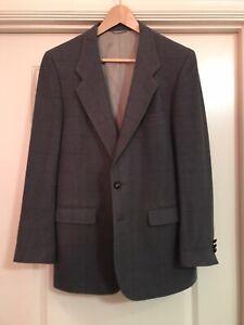 Hardy Aimes Vintage Grey Tweed 100% Wool Blazer Sport Coat Jacket Mens 38R Trad