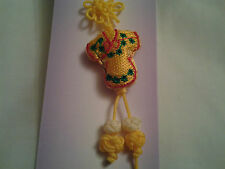 hand-made yellow Chinese knot, charm, pendant + embroidery Chinese dress
