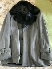 Boss Hugo Boss Mens Grey Wool Winter Jacket Removable Faux Fur Collar