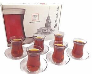 Turkish Tea Glasses Set - 6 Glasses 6 Saucers Home Decor cups kitchen service