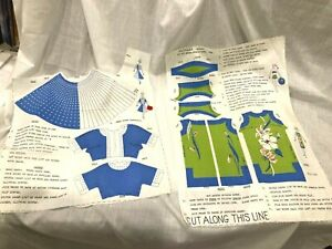 """2 Vintage Barbie 11-12"""" Doll Clothes  CUT and SEW Fabric Panels (some partial)"""