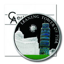 Palau World of Wonders Leaning Tower of Pisa $5 2011 Proof Colored Silver Crown