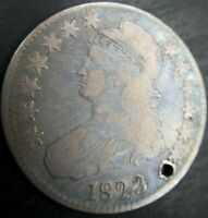 1823 Capped Bust Half Ugly Three 3 O-110a Very Good VG or Fine F Details Holed
