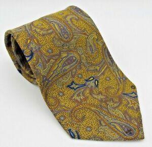 Hickey Freeman Gold Blue Bronze Paisley 100% Silk Classic Men's Tie
