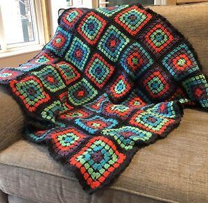Handcrafted Crochet Throw Storm/Mint Green/Purple/Rose Red/Aqua 93cmx93cm
