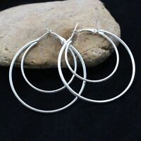 "Unique & Elegant Pure 925 Sterling Silver Big Round Hoop 1.75"" Earrings"