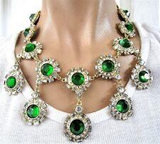 Gorgeous Huge Drippy Green & Ice Blinding Diamante Resin Rhinestone Necklace!