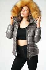 LADIES WINTER PUFFER JACKETS SHINY FINISH IN GREY THICK FAUX FUR TRIM